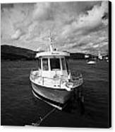 Boat Used As A Small International Passenger Ferry Crossing The Mouth Of Carlingford Lough Canvas Print by Joe Fox