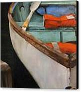 Boat With Red Canvas Print by Jose Romero