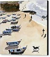 Boats On The Beach Canvas Print by Lucy Willis