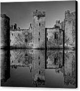 Bodiam Castle In Mono Canvas Print by Mark Leader