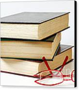 Books And Glasses Canvas Print by Carlos Caetano