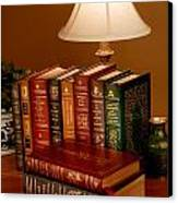Books Sit On A Desk In A Home Library Canvas Print by O. Louis Mazzatenta