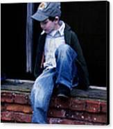 Boy In Window Canvas Print by Kelly Hazel