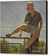 Boy On A Fence Waiting For Lance Armstrong Canvas Print