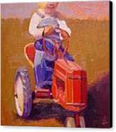 Boy On Tractor Canvas Print
