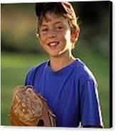 Boy With Baseball Glove Canvas Print by John Sylvester