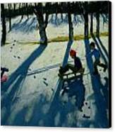 Boys Sledging Canvas Print by Andrew Macara