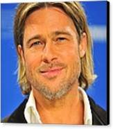Brad Pitt At The Press Conference Canvas Print by Everett