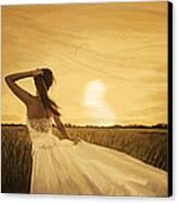 Bride In Yellow Field On Sunset  Canvas Print by Setsiri Silapasuwanchai