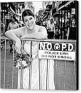 Bride On The Barricade On Bourbon St Nola Canvas Print