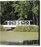 Bridge Over An Algae Covered Pond Canvas Print by Jaak Nilson