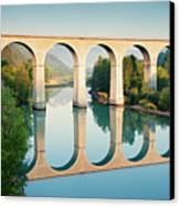 Bridge Over The River Durance In Sisteron, France Canvas Print by Kirill Rudenko