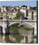Bridge Ponte Vittorio II. River Tiber.rome Canvas Print by Bernard Jaubert