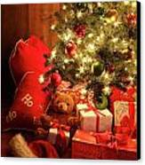 Brightly Lit Christmas Tree With Gifts Canvas Print