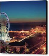 Brighton Wheel And Seafront Lit Up At Night Canvas Print by PhotoMadly