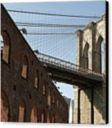 Brooklyn Bridge & Empire Fulton Ferry State Park Canvas Print by Just One Film