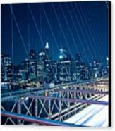 Brooklyn Bridge And Lower Manhattan By Night Canvas Print