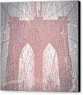 Brooklyn Bridge Red Canvas Print by Naxart Studio