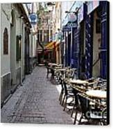 Brussels Side Street Cafe Canvas Print