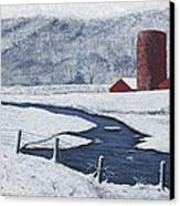 Buffalo River Valley In Snow Canvas Print by Garry McMichael