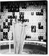 Burning Incense Joss Sticks In Columbarium Po Fook Hill Cemetery Sha Tin New Territories China Canvas Print by Joe Fox