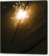 Burning Sparkler On Sidewalk At Night Canvas Print
