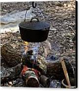 Campfire Cooking Canvas Print by David Lee Thompson
