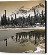 Canadian Rocky Mountains Dusted In Snow Canvas Print