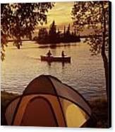 Canoeing At Otter Falls, Whiteshell Canvas Print