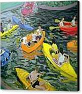 Canoes Canvas Print by Andrew Macara