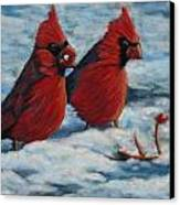 Cardinals In Winter Canvas Print by Tracey Hunnewell