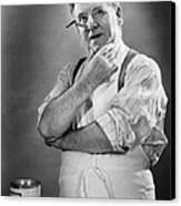 Carpenter Posing In Studio, (b&w) Canvas Print by George Marks