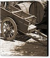 Cart And Wine Barrels In Italy Canvas Print
