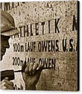 Carving The Name Of Jesse Owens Into The Champions Plinth At The 1936 Summer Olympics In Berlin Canvas Print by American School