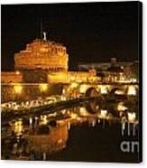 Castel San Angelo At Night. Rome Canvas Print by Bernard Jaubert