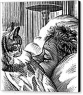 Cat Watching Sleeping Man, Artwork Canvas Print