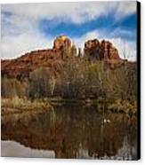 Cathedral Rock Reflections Portrait 2 Canvas Print by Darcy Michaelchuk