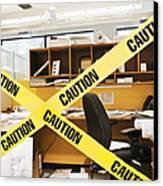 Caution Tape Blocking A Cubicle Entrance Canvas Print