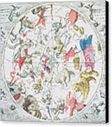 Celestial Planisphere Showing The Signs Of The Zodiac Canvas Print by Andreas Cellarius