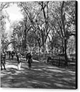 Central Park Mall In Black And White Canvas Print