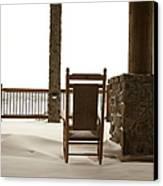 Chair On A Snowy Balcony Canvas Print