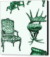 Chair Poster In Green  Canvas Print