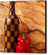 Checker Wine Bottle And Red Pepper Canvas Print by Garry Gay