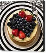 Cheese Cake On Black And White Plate Canvas Print by Garry Gay