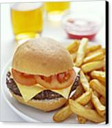 Cheeseburger And Chips Canvas Print by David Munns
