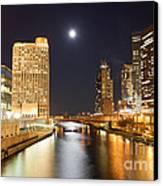 Chicago At Night At Columbus Drive Bridge Canvas Print