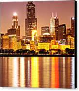 Chicago At Night With Willis-sears Tower Canvas Print by Paul Velgos