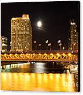 Chicago Michigan Avenue Dusable Bridge At Night Canvas Print