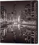 Chicago River East Bw Canvas Print by Steve Gadomski