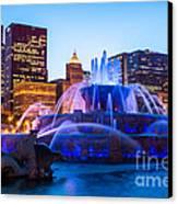 Chicago Skyline Buckingham Fountain High Resolution Canvas Print